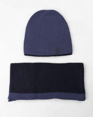 ست شال و کلاه 20027- آبی تیره (1)