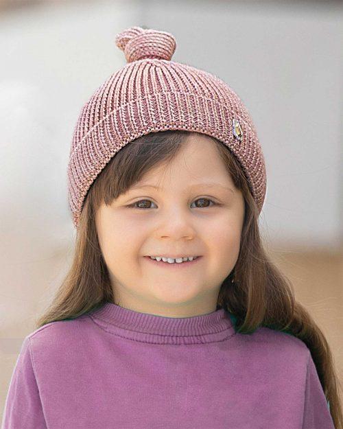 کلاه بافت بچگانه 84002- صورتی کثیف