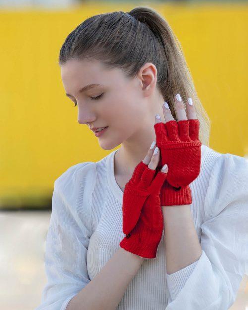 دستکش بافت 38006- قرمز (1)