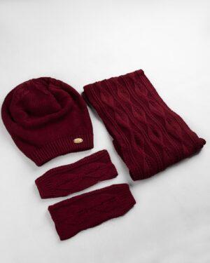 ست شال و کلاه و دستپوش 15033-عنابی (6)