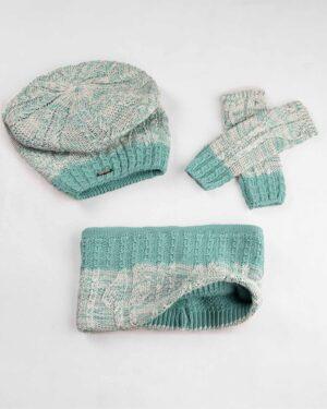 ست شال و کلاه و دستکش 15044-سبز آبی روشن (1)