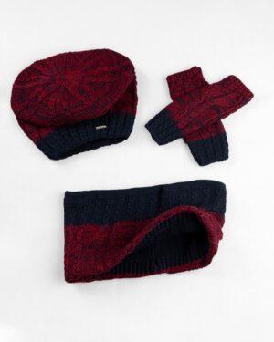 ست شال و کلاه و دستکش 15044-شرابی (1)