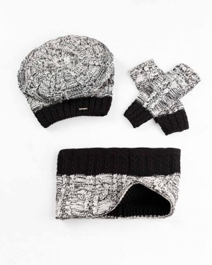 ست شال و کلاه و دستکش 15044- مشکی (1)
