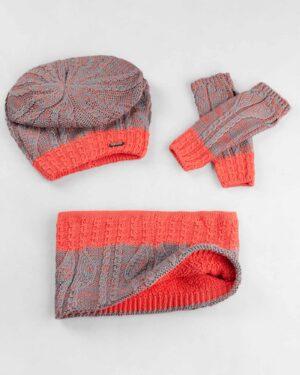 ست شال و کلاه و دستکش 15044-گلبهی (2)