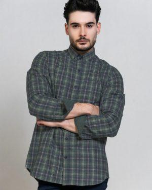 پیراهن مردانه پشمی 1348- سبز تیره (2)