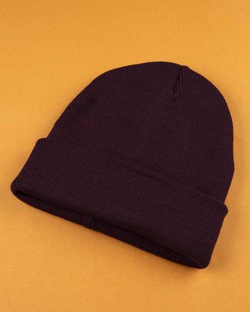 کلاه بافت zk55- بادمجانی (1)