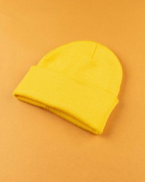 کلاه بافت zk55- زرد (2)
