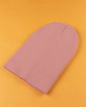 کلاه بافت zk55- صورتی کثیف (1)