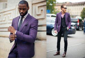 سه ست لباس های بنفش مردانه