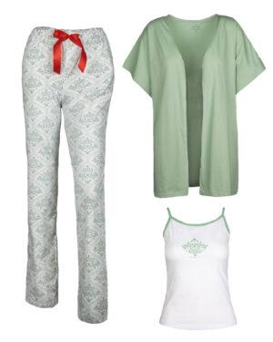 ست لباس راحتی 3 تکه 0725- سبز زمردی (3)