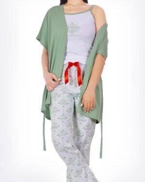 ست لباس راحتی 3 تکه 0725- سبز زمردی (4)