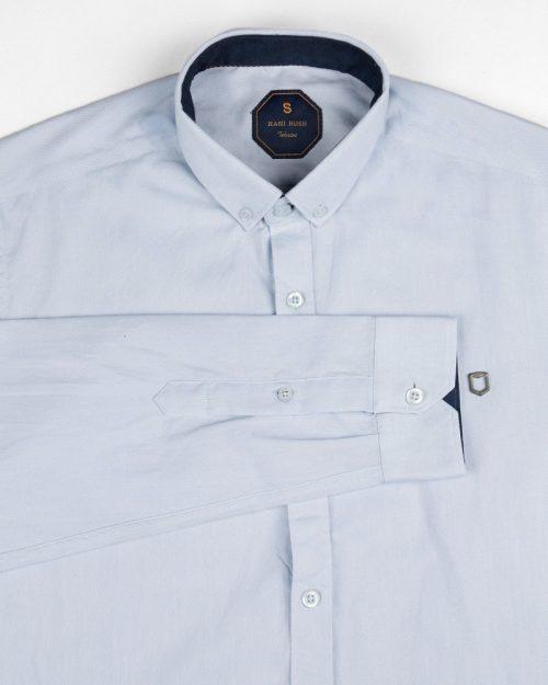 پیراهن نخی مردانه 1058- آبی یخی (4)