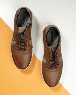 کفش مردانه چرم VK102- بادامی (1)