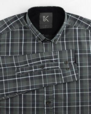 پیراهن چهارخانه مردانه RWVK188-T1- دودی