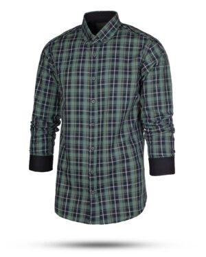 پیراهن چهارخانه مردانه RWVK188-T1- سبز دریایی (2)