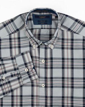 پیراهن چهارخانه مردانه vk991- آبی آسمانی (2)