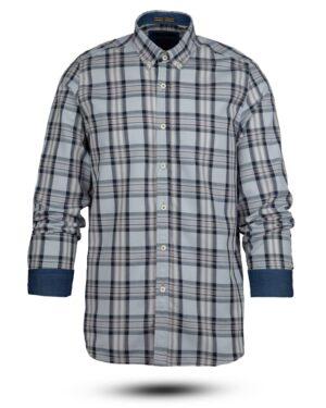 پیراهن چهارخانه مردانه vk991- آبی آسمانی (3)