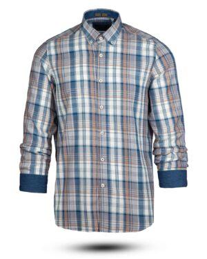 پیراهن چهارخانه مردانه vk991- خاکستری محو (1)