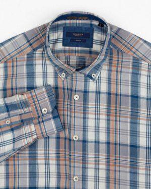 پیراهن چهارخانه مردانه vk991- خاکستری محو (2)