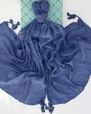 شال زنانه نخی 1441- آبی بنفش تیره (3)