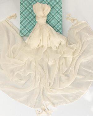 شال زنانه نخی 1441- سفید (3)