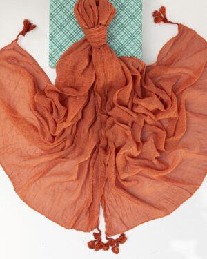 شال زنانه نخی 1441- قرمز نارنجی (3)