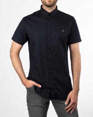پیراهن آستین کوتاه مردانه 4004- سرمه ای تیره (4)