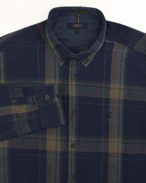 پیراهن نخی مردانه VK990- زیتونی (1)