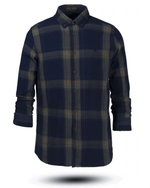 پیراهن نخی مردانه VK990- زیتونی (2)