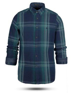 پیراهن نخی مردانه VK990- سبز زمردی (1)