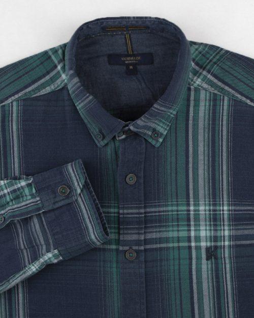پیراهن نخی مردانه VK990- سبز زمردی (9)