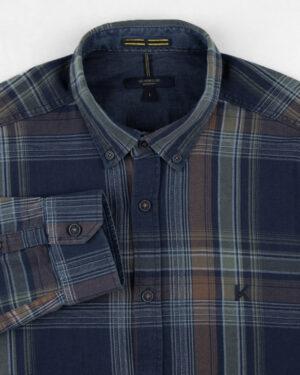 پیراهن نخی مردانه VK990- نارنجی تیره (3)