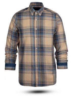 پیراهن چهارخانه مردانه vk991- خاکی (1)