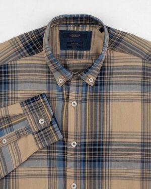 پیراهن چهارخانه مردانه vk991- خاکی (2)