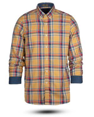 پیراهن چهارخانه مردانه vk991- خردلی (1)