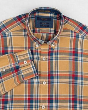 پیراهن چهارخانه مردانه vk991- خردلی (2)