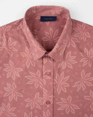 پیراهن مردانه هاوایی 4012- صورتی کثیف (3)
