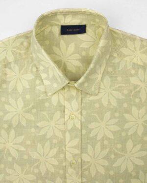 پیراهن مردانه هاوایی 4012- لیمویی (4)