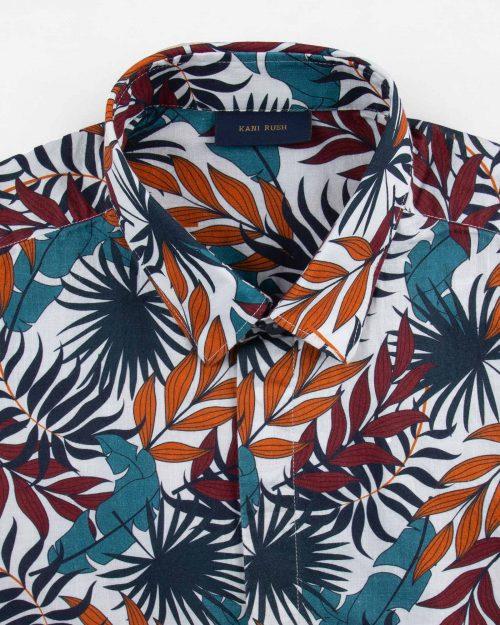 پیراهن مردانه هاوایی 4040- قرمز نارنجی (6)