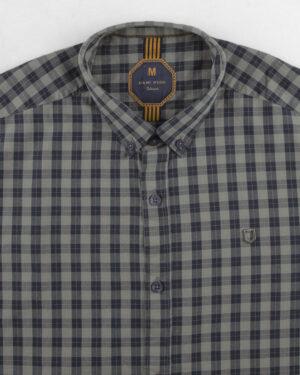 پیراهن مردانه چهارخانه 4005- سرمه ای تیره (8)