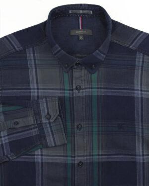 پیراهن نخی مردانه VK990- سبز دریایی (1)