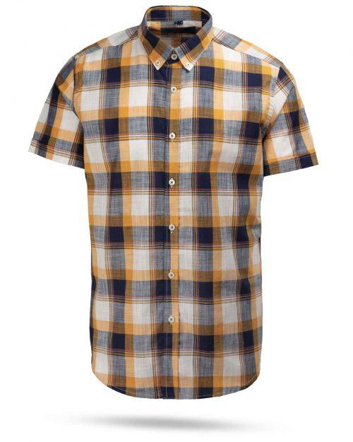 پیراهن مردانه آستین کوتاه VK9919- عسلی (1)