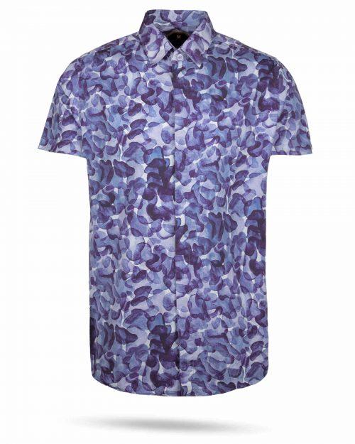 پیراهن مردانه هاوایی 4020- آبی کاربنی (1)