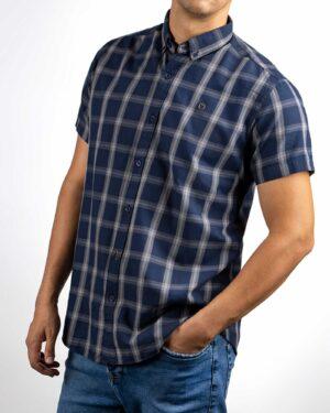 پیراهن مردانه چهارخانه 4011- سرمه ای (5)