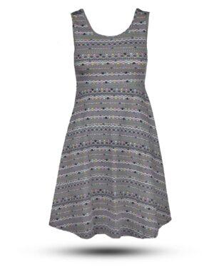 پیراهن نخی طرح دار زنانه- خاکستری (1)