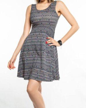 پیراهن نخی طرح دار زنانه- خاکستری (6)
