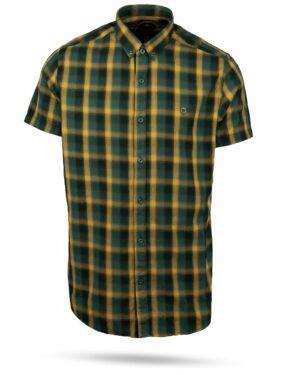 پیراهن چهارخانه مردانه 4019- زرد (1)