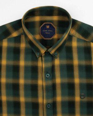 پیراهن چهارخانه مردانه 4019- زرد (3)