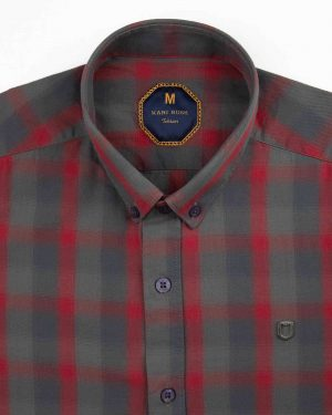 پیراهن چهارخانه مردانه 4019- زرشکی (4)