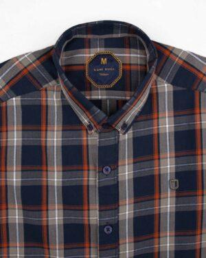 پیراهن چهارخانه مردانه 4019- سرمه ای (3)